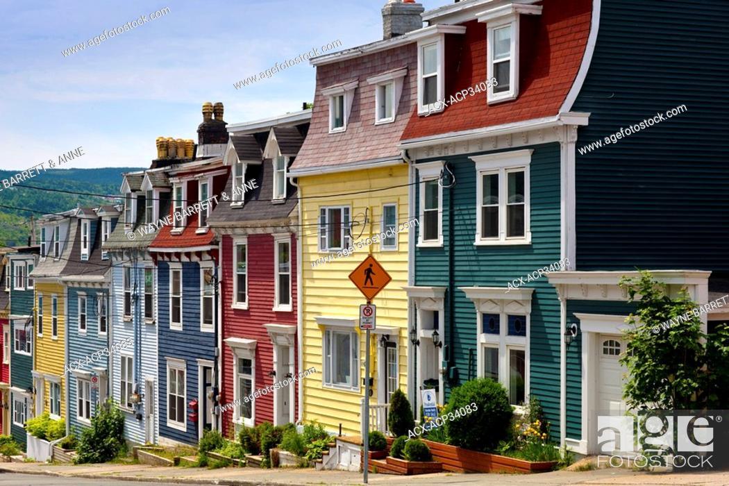 Stock Photo: Row Houses in St. John's, Newfoundland and Labrador, Canada.
