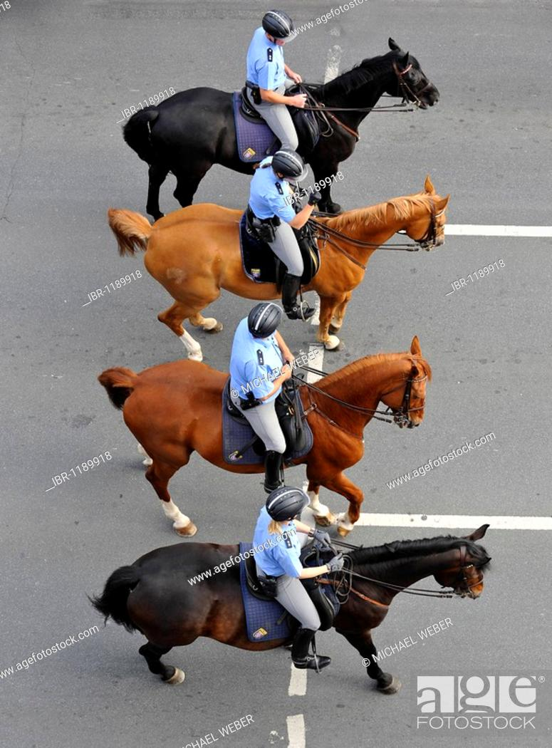 Stock Photo: International German Gymnastics Festival 2009 procession, mounted Police, Frankfurt am Main, Hesse, Germany, Europe.