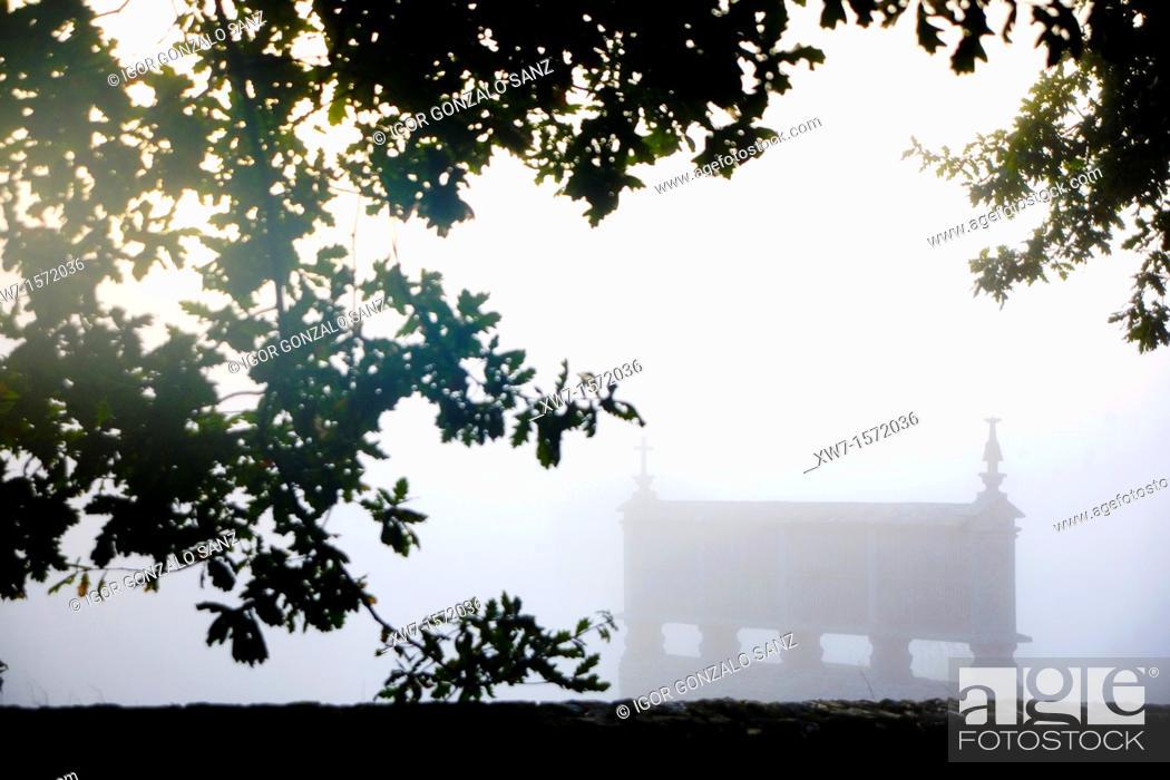 Stock Photo: Hórreo at Lugo Galicia, Spain in the mist of a sunrise. Camino de Santiago. Pilgrimage way.