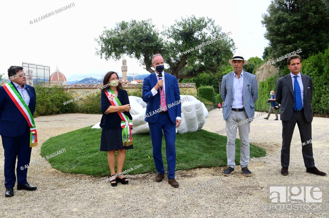 Stock Photo: The artist Lorenzo Quinn with Eike Schmidt director Uffizi Museums, deputy mayor of Florence Cristina Giachi, Stefano Giovannetti mayor of Pietrasanta during.