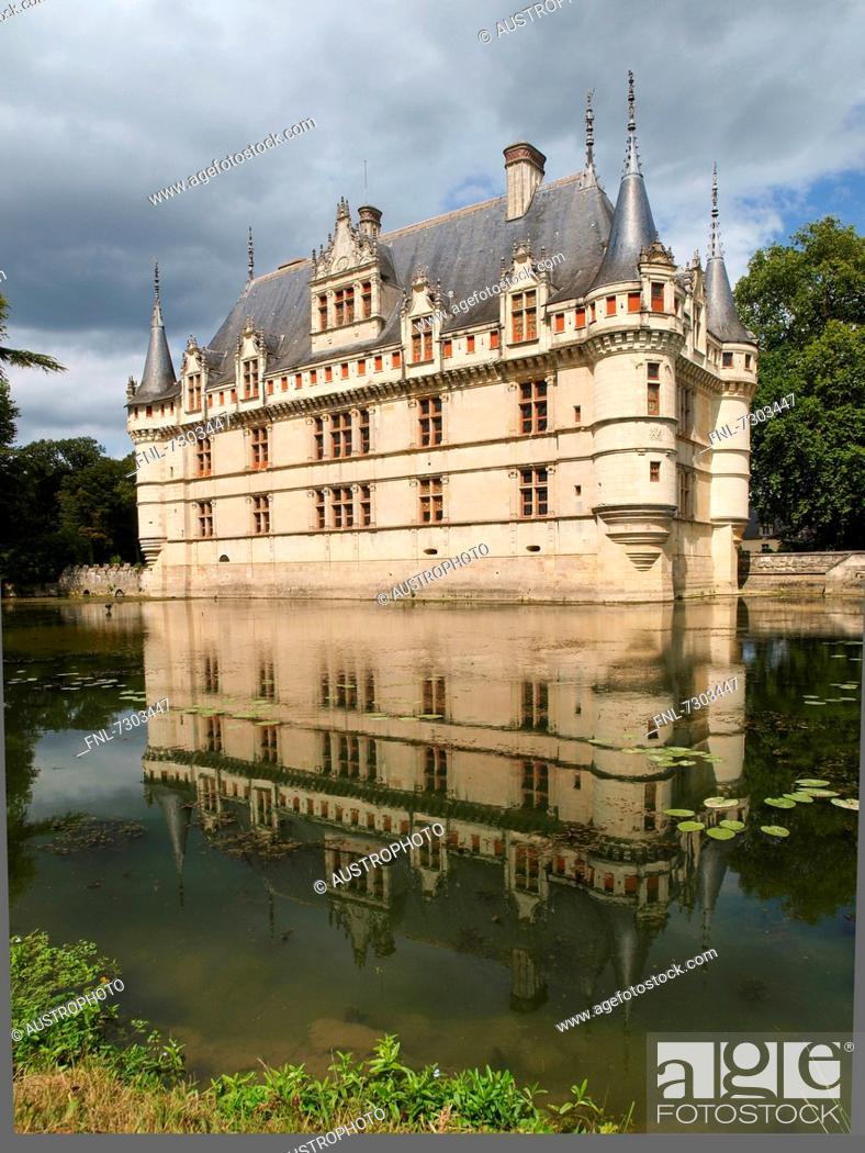 Stock Photo: Château d'Azay-le-Rideau, Loire Valley, France.