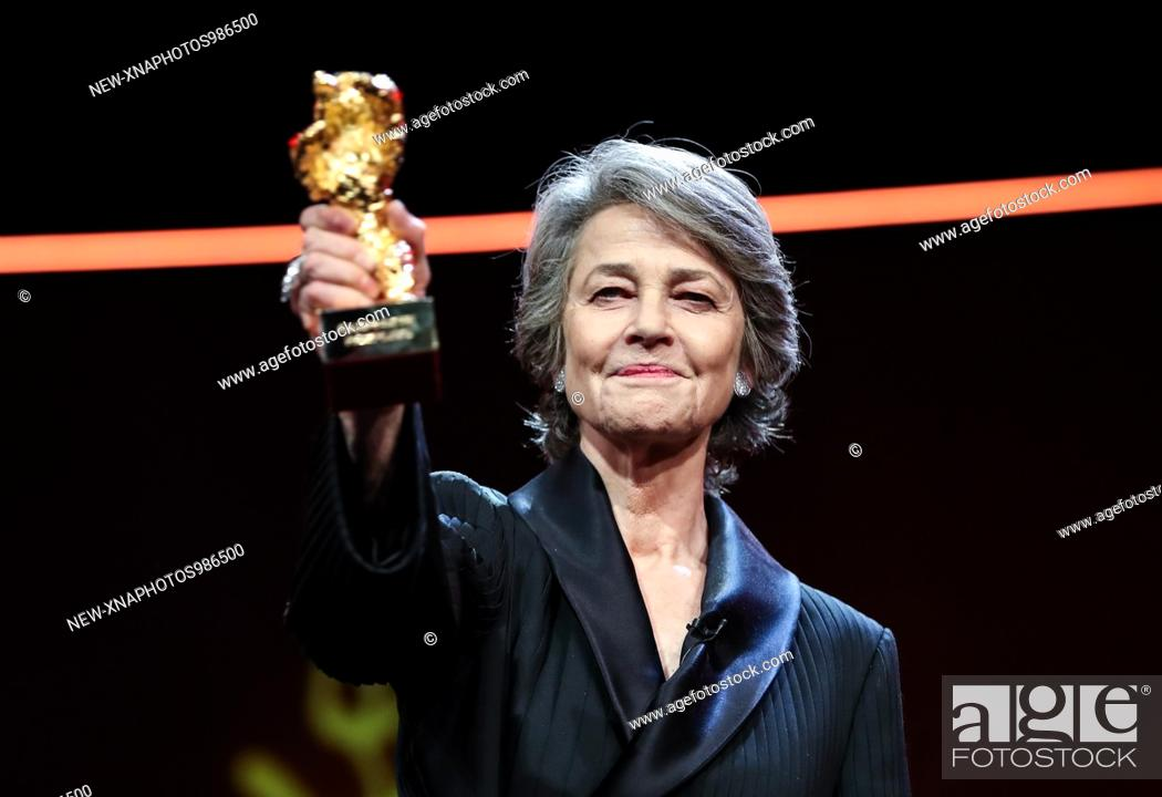 Stock Photo: (190215) -- BERLIN, Feb. 15, 2019 (Xinhua) -- British actress Charlotte Rampling, winner of the Honorary Golden Bear prize for lifetime achievement.