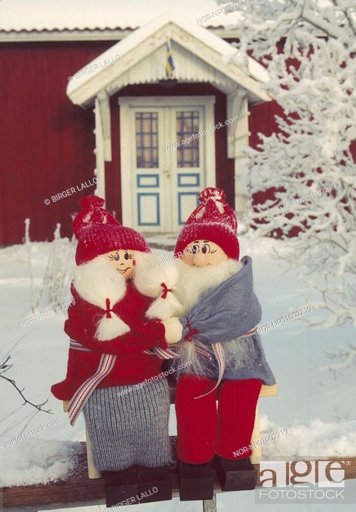 Stock Photo: Close-up of two elves in front of a house.