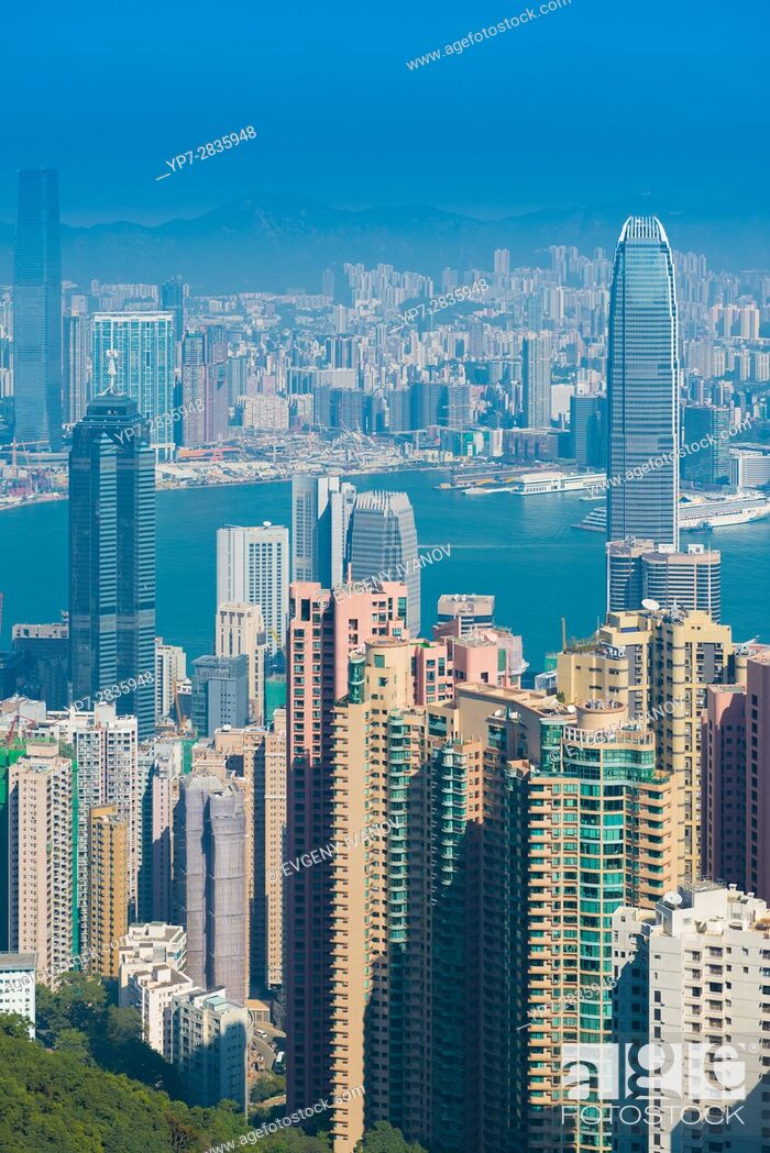 Stock Photo: Skyscrapers of Hong Kong.