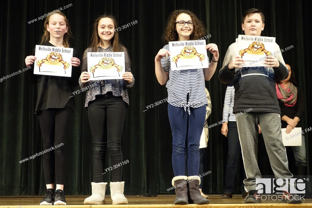 Stock Photo: 6th Grade Students Receiving Achievement Awards, Wellsville, New York, USA.