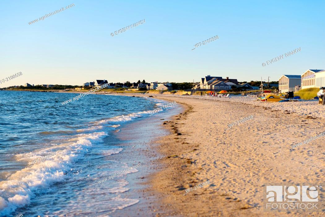 Stock Photo: Shoreline of the Old Silver Beach, Cape Cod, Massachusetts.