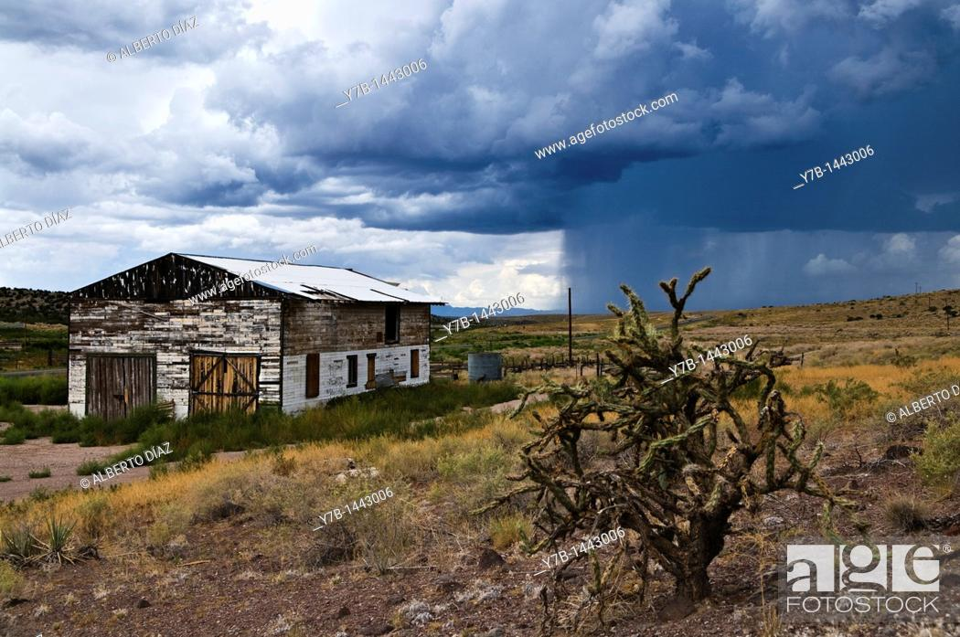 Stock Photo: Showers in a rural area of Arizona along Route 66.