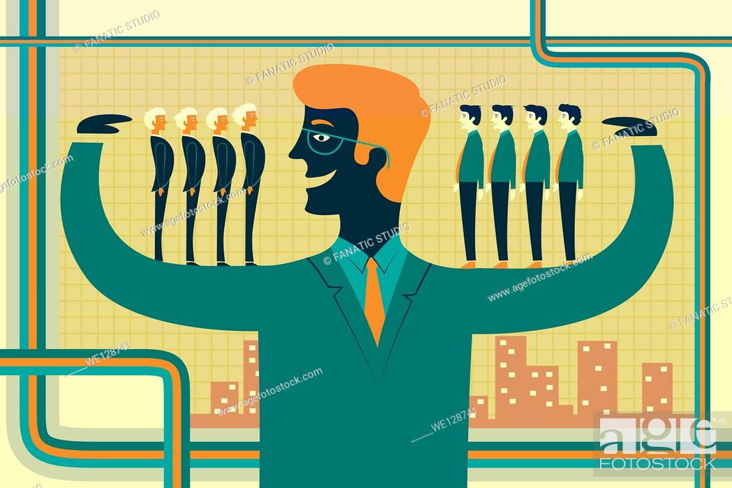 Stock Vector: Illustrative image of leader carrying business people on his arms representing acquisition.