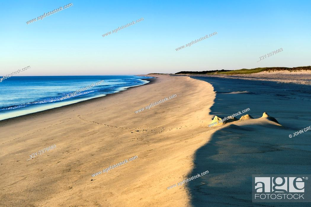 Stock Photo: Remenants of a sand castle at Nauset Beach, Cape Cod, Massachusetts, USA.