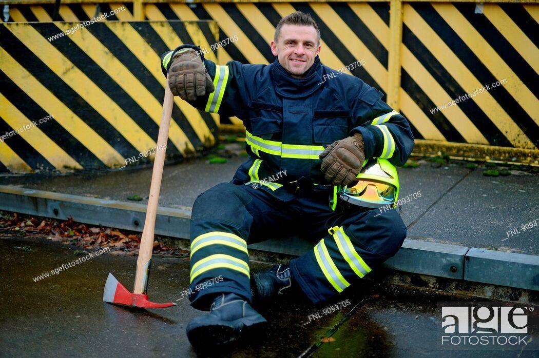 Stock Photo: Portrait of a fireman.