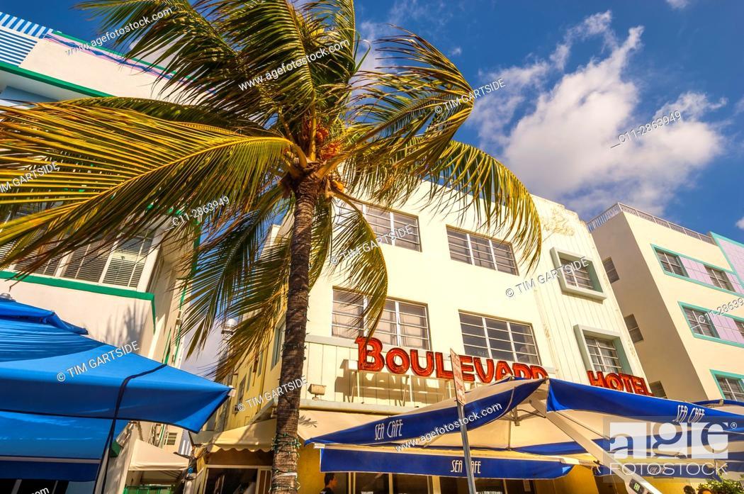 Stock Photo: Colony and Boulevard Hotel, South Beach, Ocean Drive, Miami, Florida, USA.