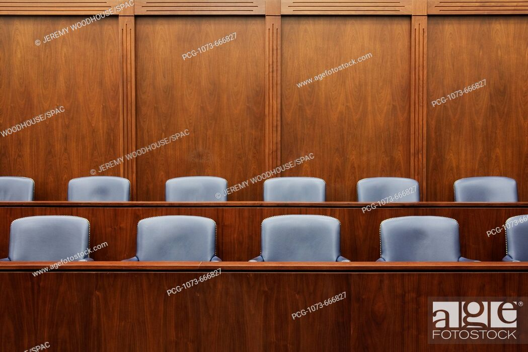 Stock Photo: Empty Jury Seats in Courtroom.