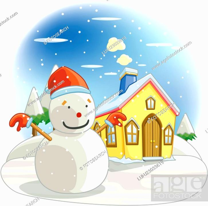 Stock Photo: chimney, tree, snow-covered, seasons, house, snowscape.