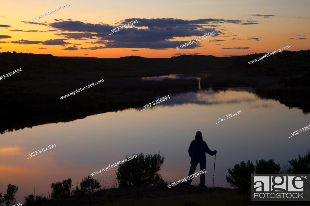 Stock Photo: Lyle Lake sunset, Seep Lakes Unit - Columbia Basin Wildlife Area, Washington.