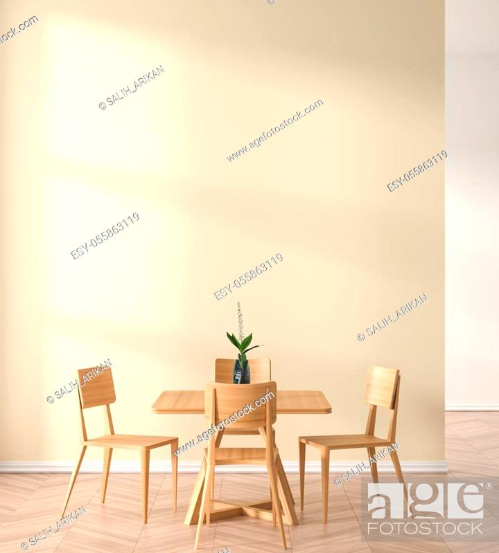 Stock Photo: Empty wall mock up in modern dining room with wooden chair and table. Minimalist dining room design with copy space. 3D illustration.