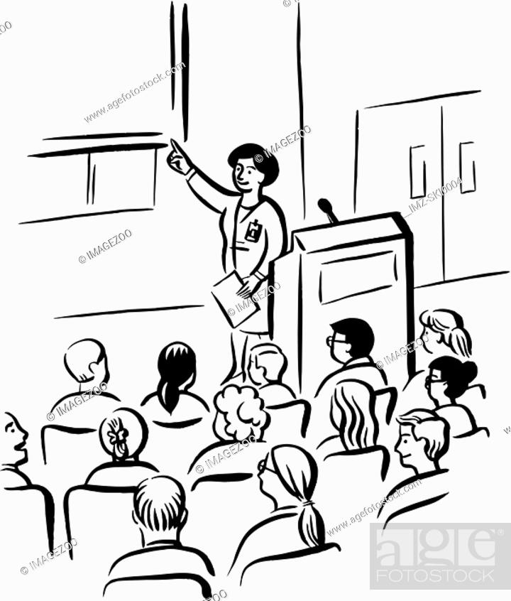 Stock Photo: Students attending a lecture drawn in black and white.