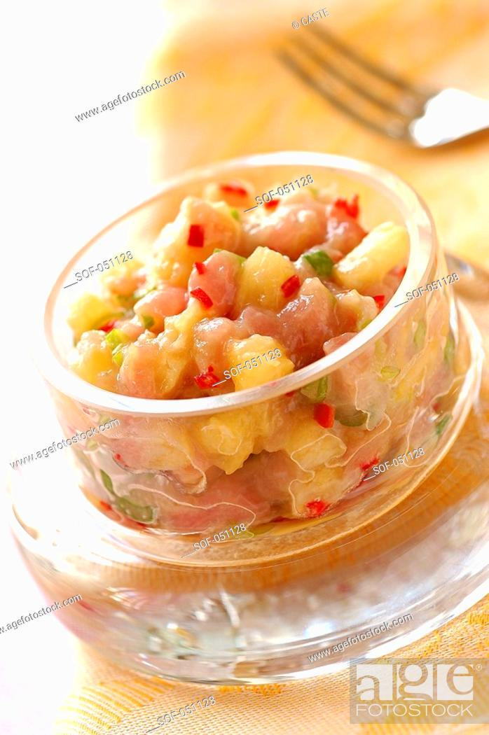 Stock Photo: tuna, pineapple and fresh pepper tartare.