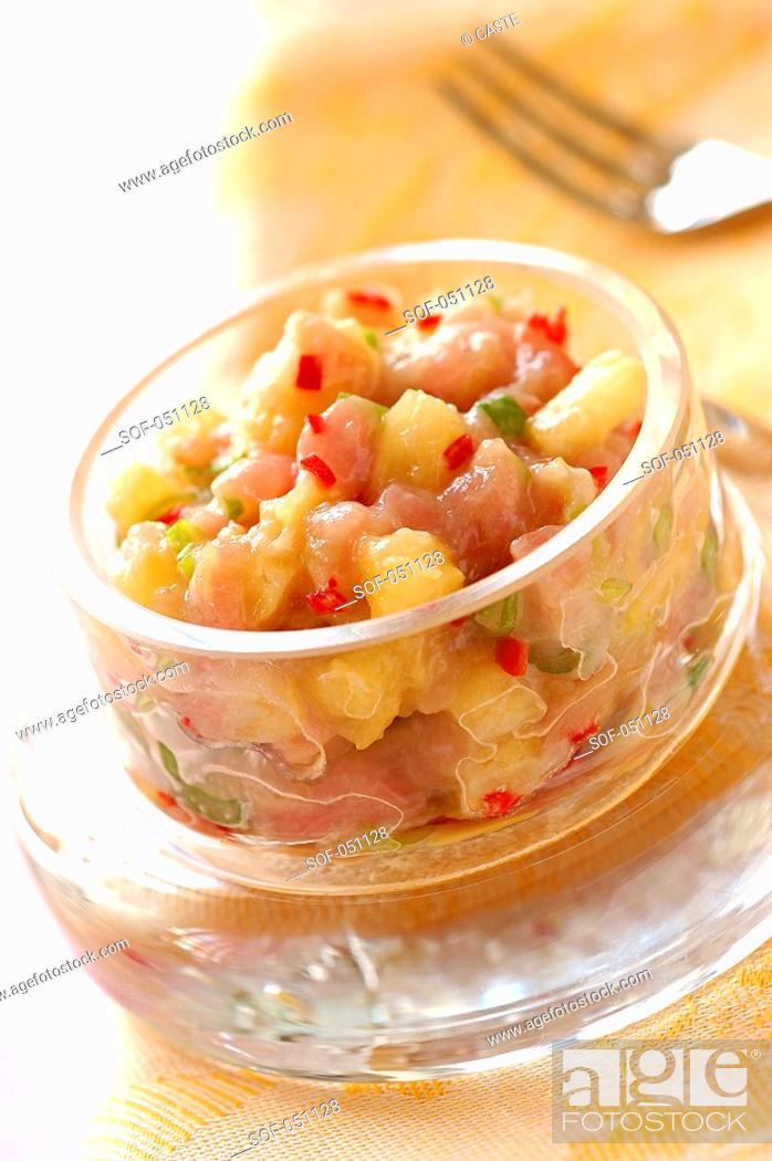 Stock Photo: tuna, pineapple and fresh pepper tartare.