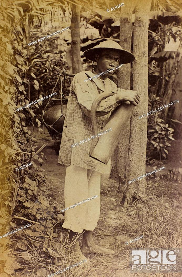 Stock Photo: Chinese young man carrying a container, shot 1890-1900.