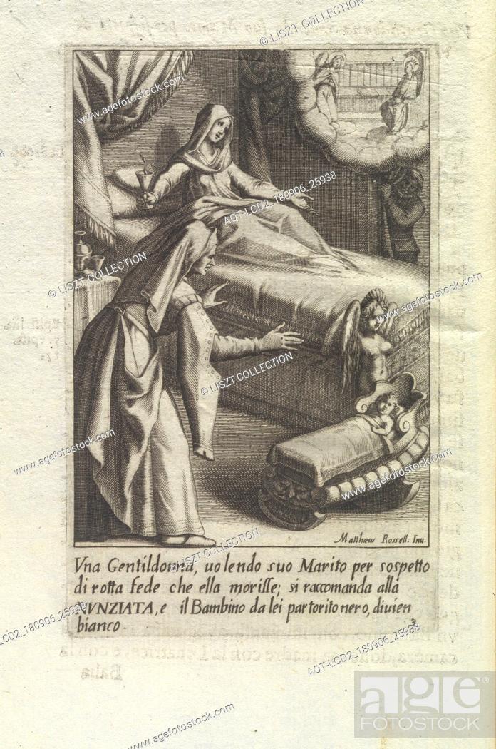 Stock Photo: Vna gentildonna, uolendo suo marito per sospetto di rotta fede che ella morisse; si raccomanda alla Nvnziata, e il bambino da lei partorito nero, diuien bianco.