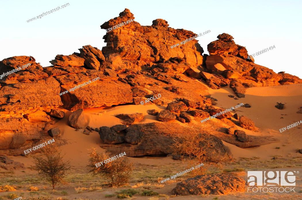 Stock Photo: Morning light on bizarre rock formations in the Acacus mountains, LIbya.