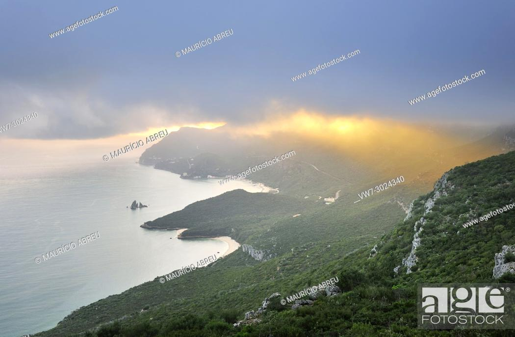 Stock Photo: Arrabida mountain range in a stormy day, Portugal.
