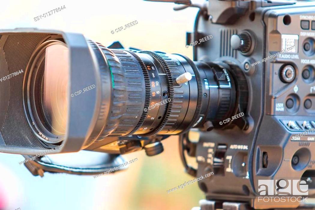 Stock Photo: Camcorder Video camera lens.