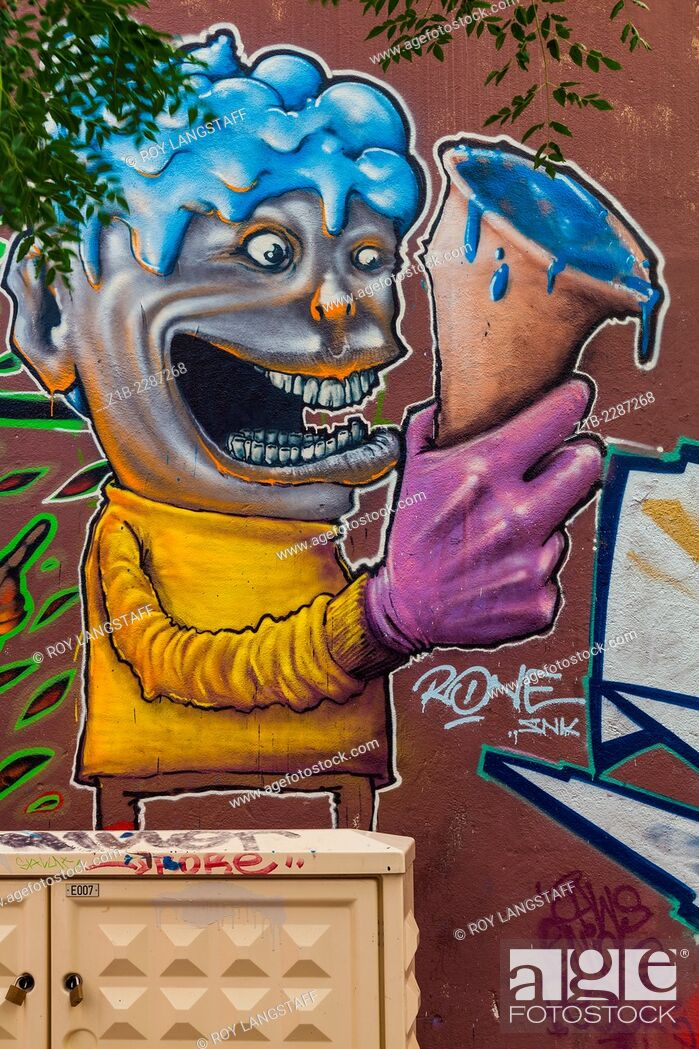 Stock Photo: Street art of a person with a blue ice cream in the Panier district of Marseille.