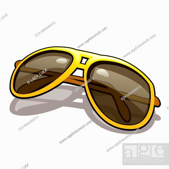 Vector: Stylish sunglasses with polarized yellow glasses for driving isolated on white background.