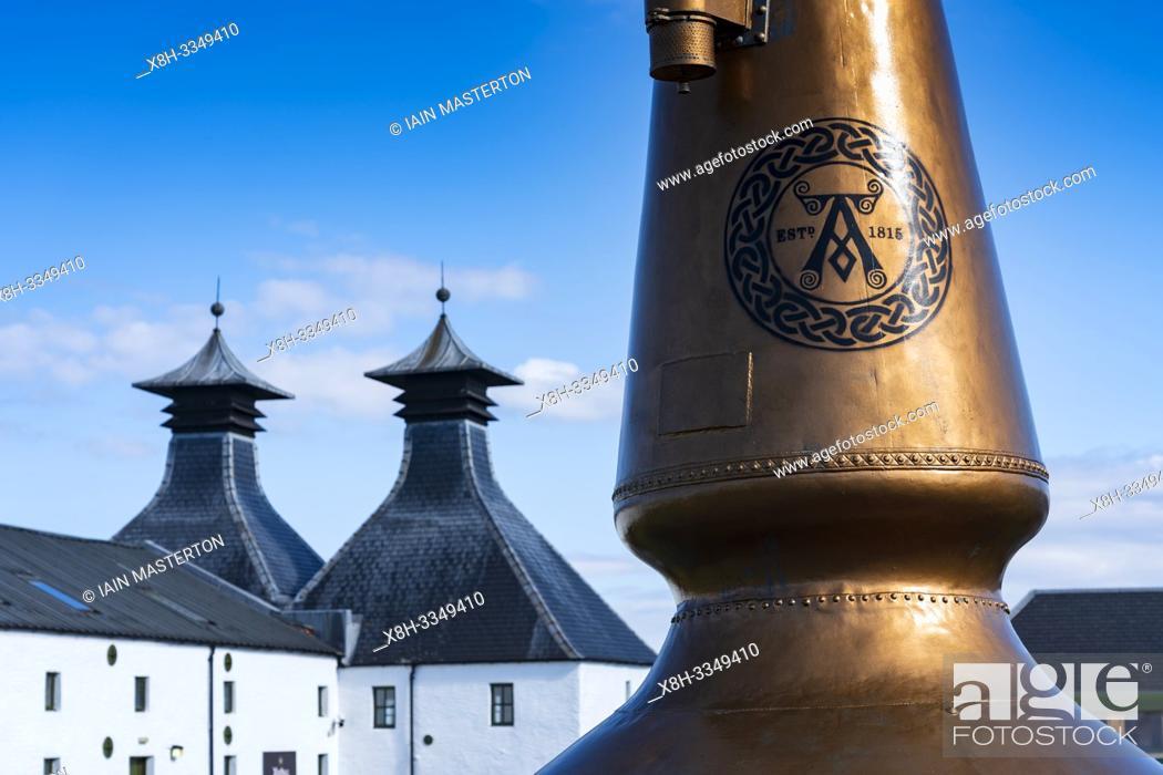 Stock Photo: View of Ardbeg Distillery on island of Islay in Inner Hebrides of Scotland, UK.