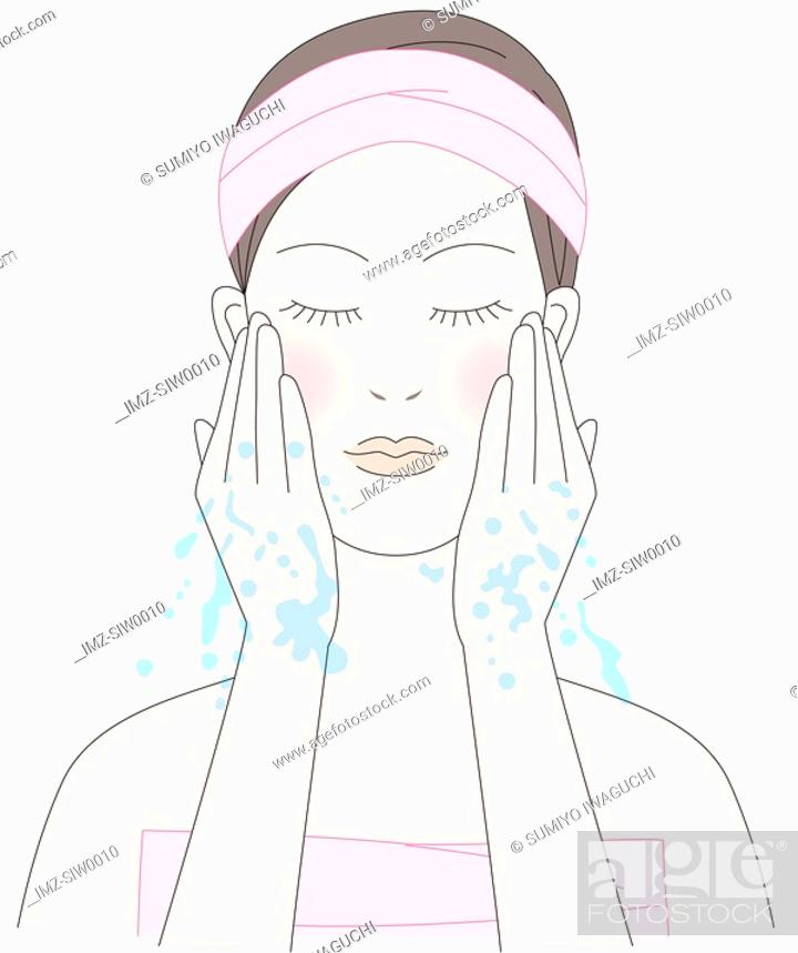 Stock Photo: Young woman washing her face.