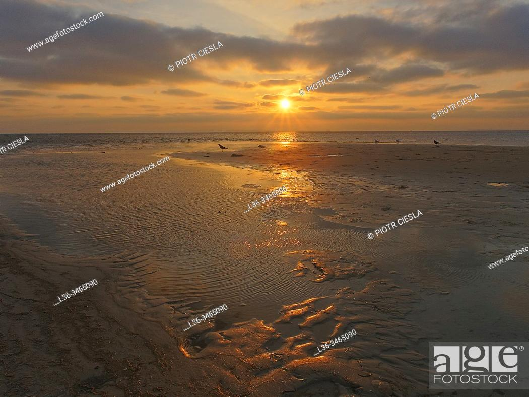 Stock Photo: Poland. Baltic Sea. Sunset.