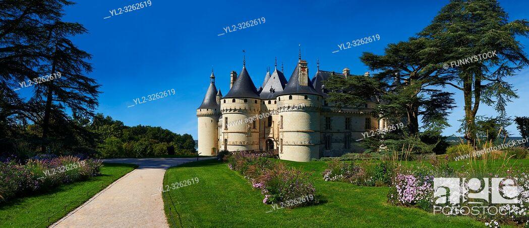 Stock Photo: 15th century castle Château de Chaumont, rebuilt by Charles I d'Amboise, acquired by Catherine de Medici in 1560. Chaumont-sur-Loire, Loir-et-Cher, France.