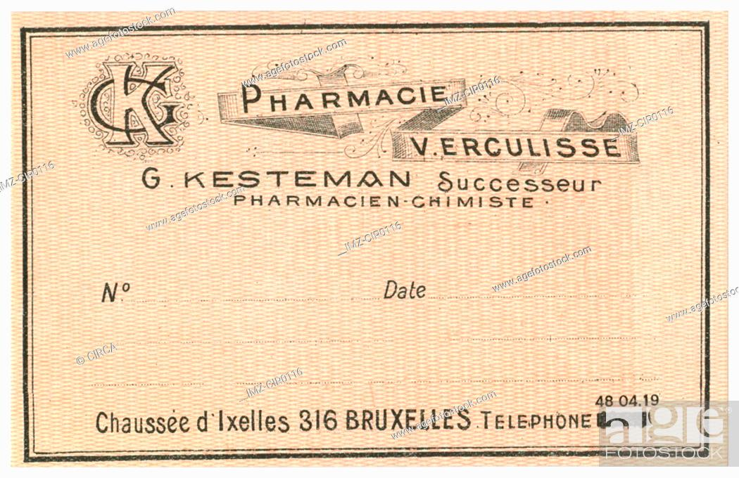 Stock Photo: A vintage Belgian medical pharmacy label.