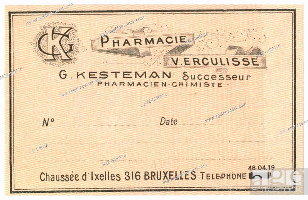Stock Photo: A vintage Belgian medical pharmacy label.