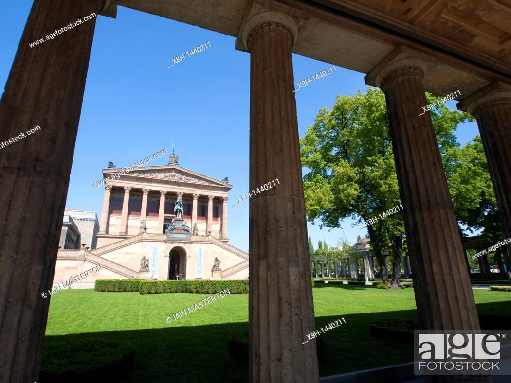Stock Photo: Exterior of Alte Nationalgalerie on Museum Island or Museumsinsel in Mitte Berlin Germany.