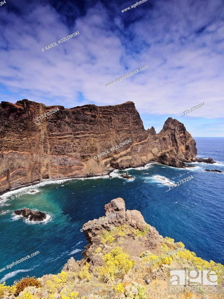 Stock Photo: Portugal, Madeira, Landscape of the Ponta de Sao Lourenco. .