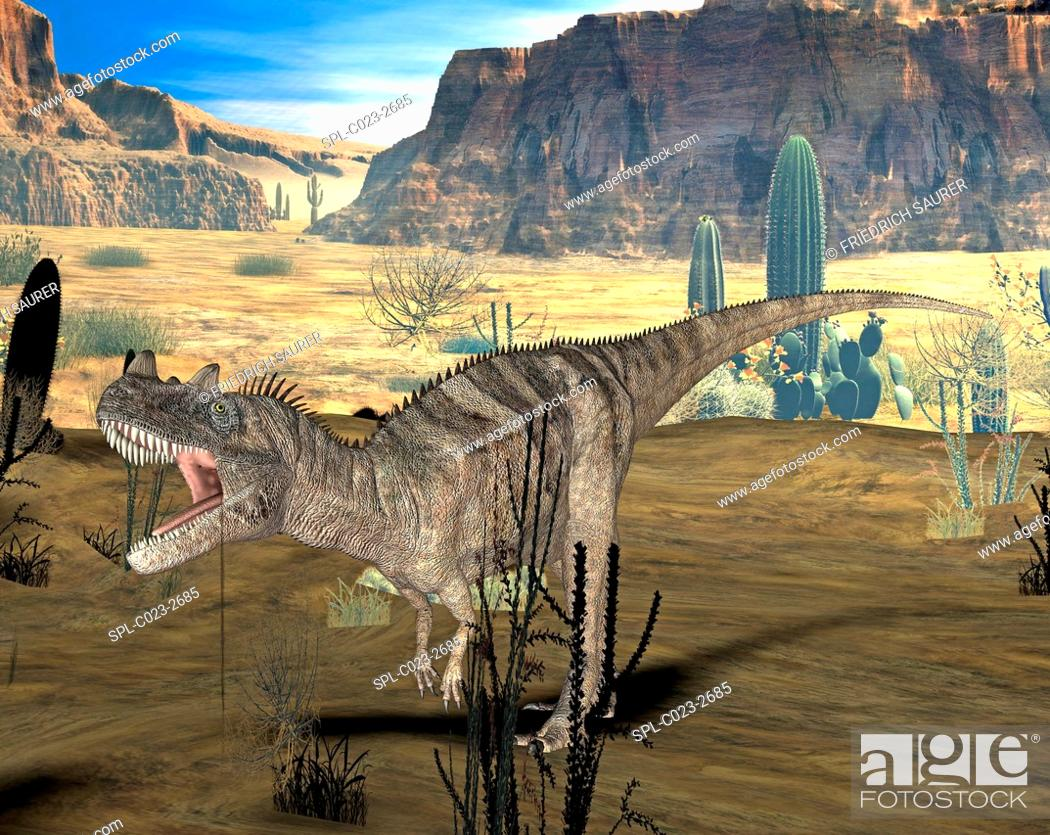 Stock Photo: Ceratosaurus dinosaur. Computer illustration of a Ceratosaurus sp. dinosaur in a prehistoric landscape. This large carnivorous theropod dinosaur lived during.