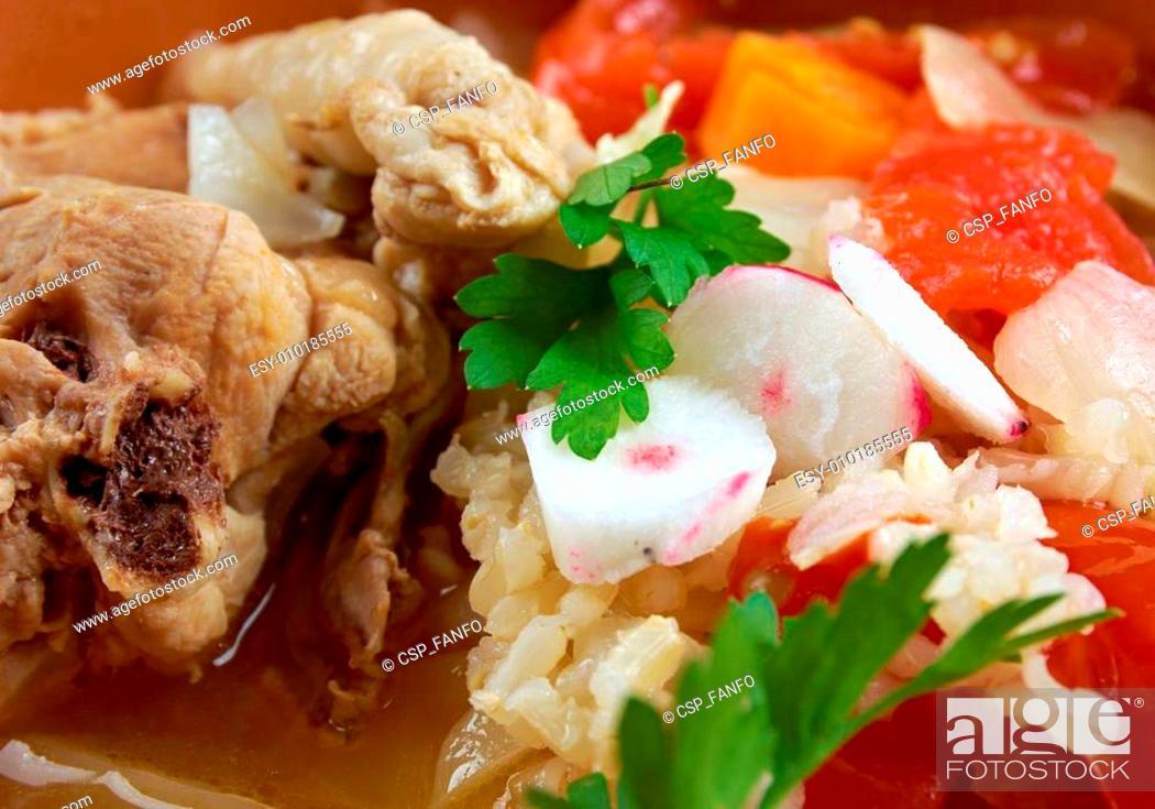 Stock Photo: chicken posole.