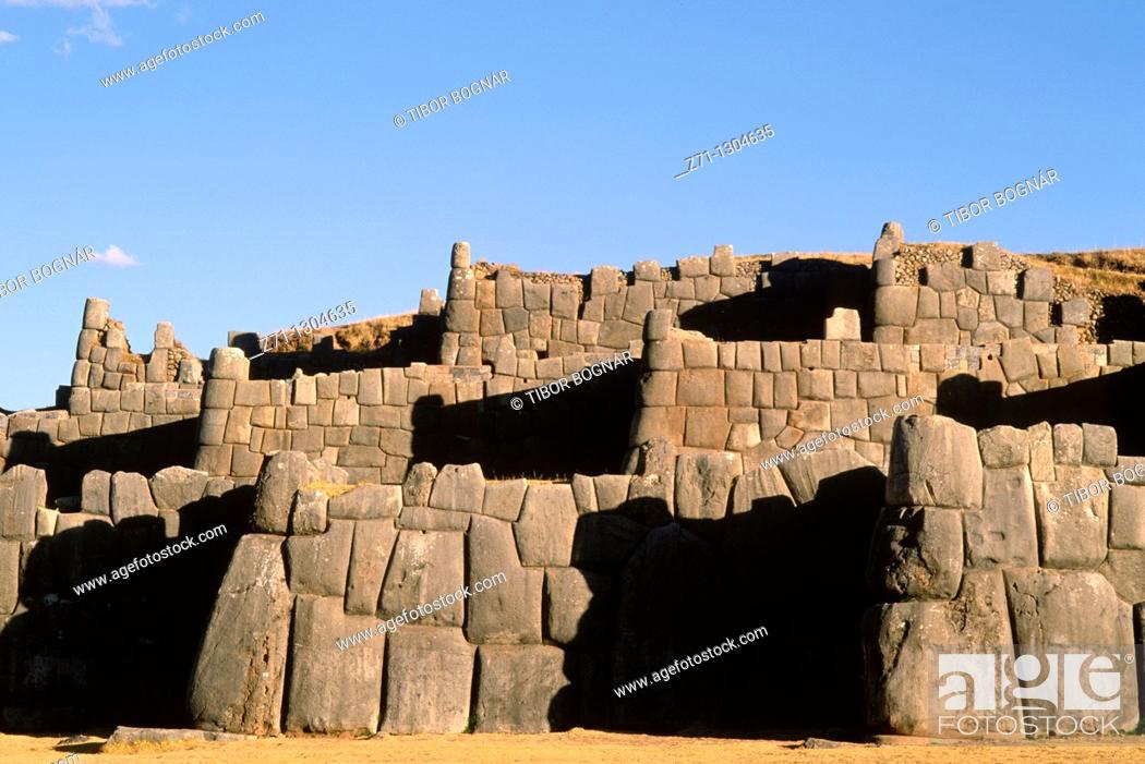 Stock Photo: Peru, Cuzco, Sacsayhuaman Inca ruins,.