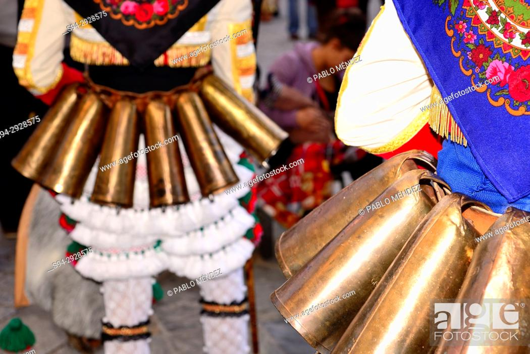 """Stock Photo: Cowbells of the Cigarrons of Verin, mask of the Entroido """"""""carnival"""""""" in Verin, Orense, Spain."""