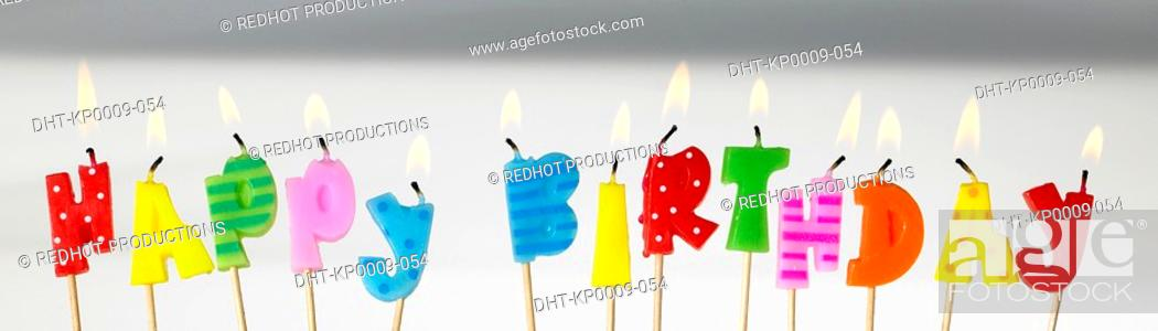 Stock Photo: Panoramic Colours, Happy Birthday Candles.