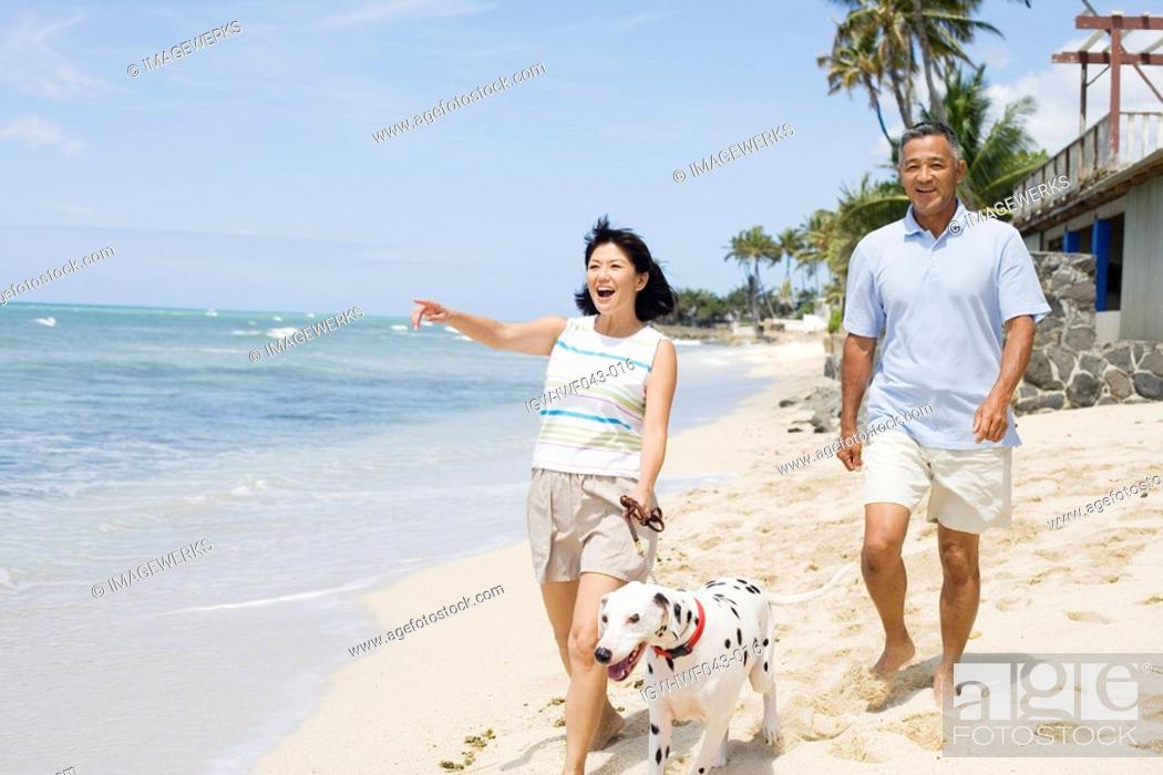 Stock Photo: View of a couple walking with dog at beach.
