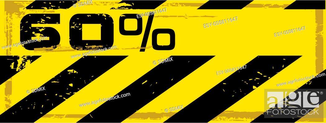 Stock Vector: vector grunge danger percent banner.