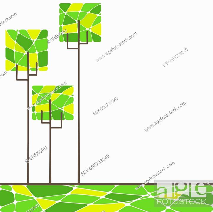 Stock Vector: card design with stylized trees and text. vector illustration.