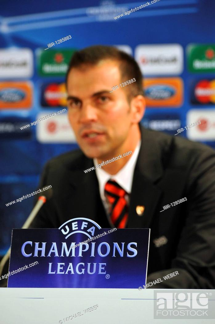 Coach Markus Babbel Vfb Stuttgart Uefa Champions League Logo On The Microphone Press Center Stock Photo Picture And Rights Managed Image Pic Ibr 1285883 Agefotostock