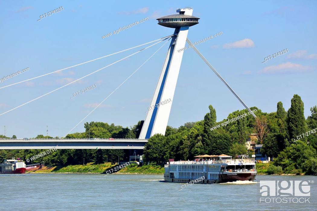 Stock Photo: Slovak Republic, Slovakia, Bratislava, Capital City, Danube, Little Carpathians, Bridge of the Slovak National Uprising, New Bridge.
