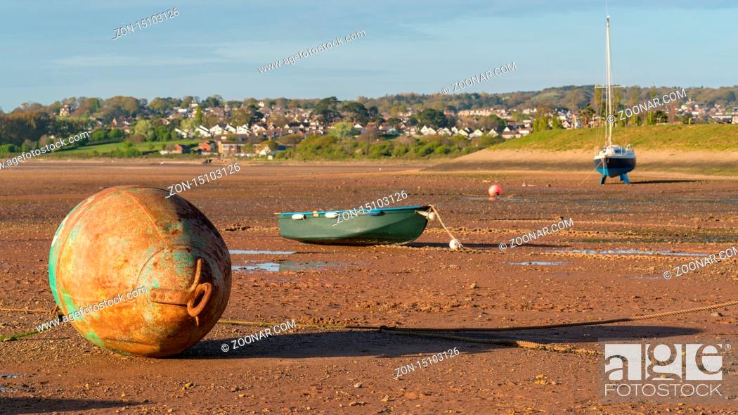 Stock Photo: Low tide, ships and a buoy, Exmouth harbour, Devon, England, UK.