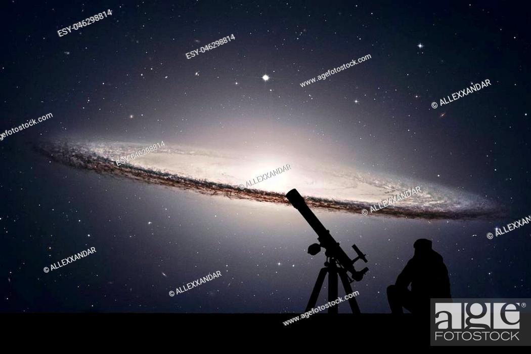 Stock Photo: Man with telescope looking at the stars. Sombrero Galaxy M104 in constellation Virgo.Elements of this image are furnished by NASA.