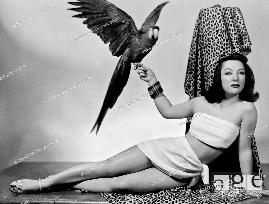 Stock Photo: Hollywood, California: c. 1935. .A woman in a sexy two piece outift relaxes on a leopard skin fabric with a parrot on her hand.